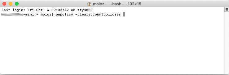 macOS 设置登录密码为1位数,取消4位数密码限制